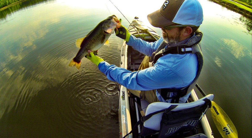 How to fly fish for trophy bass in lily pads for Best fly fishing kayak
