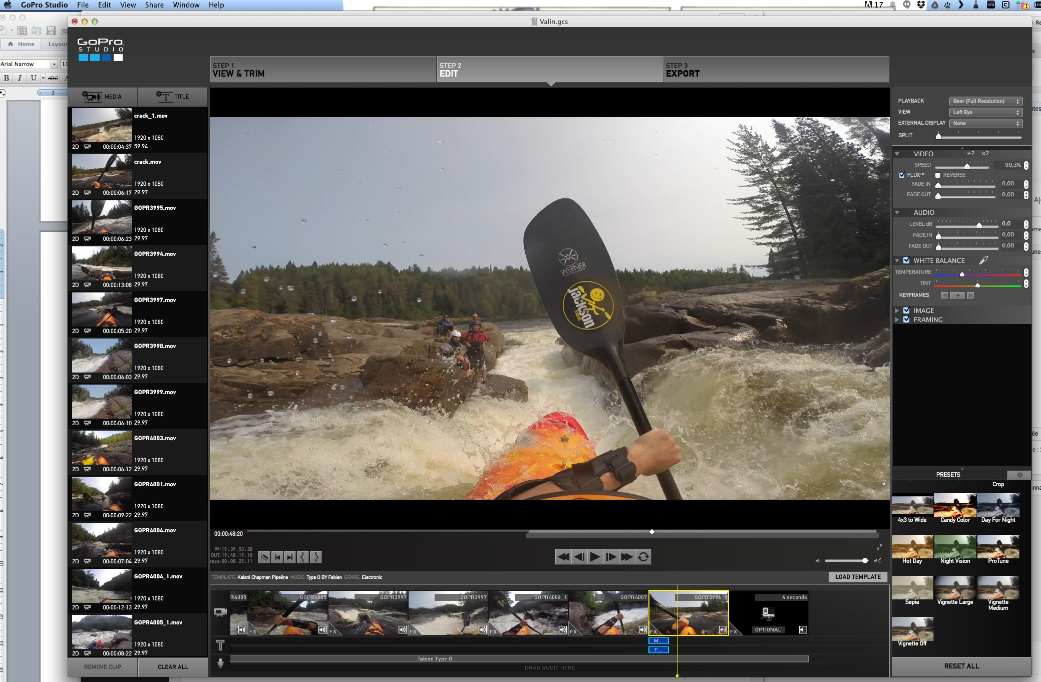 GoPro Studio to make a quick paddling video |