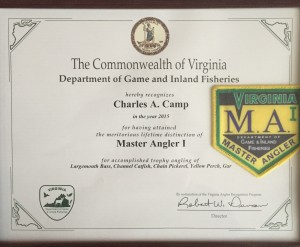 The State of Virginia sends every angler that achieves master angler a certificate and a patch.