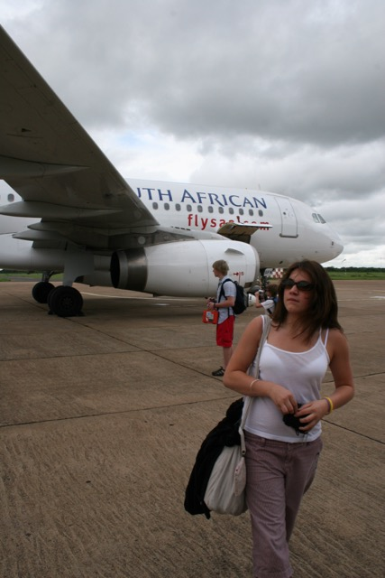 Emily getting off the plane (1)