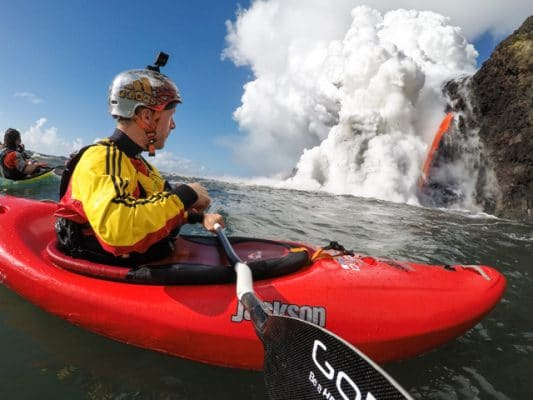 Paddling at the base of spewing Lava: video