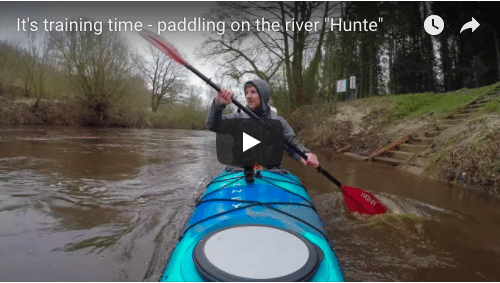 """It's training time – paddling  on the river """"Hunte"""""""